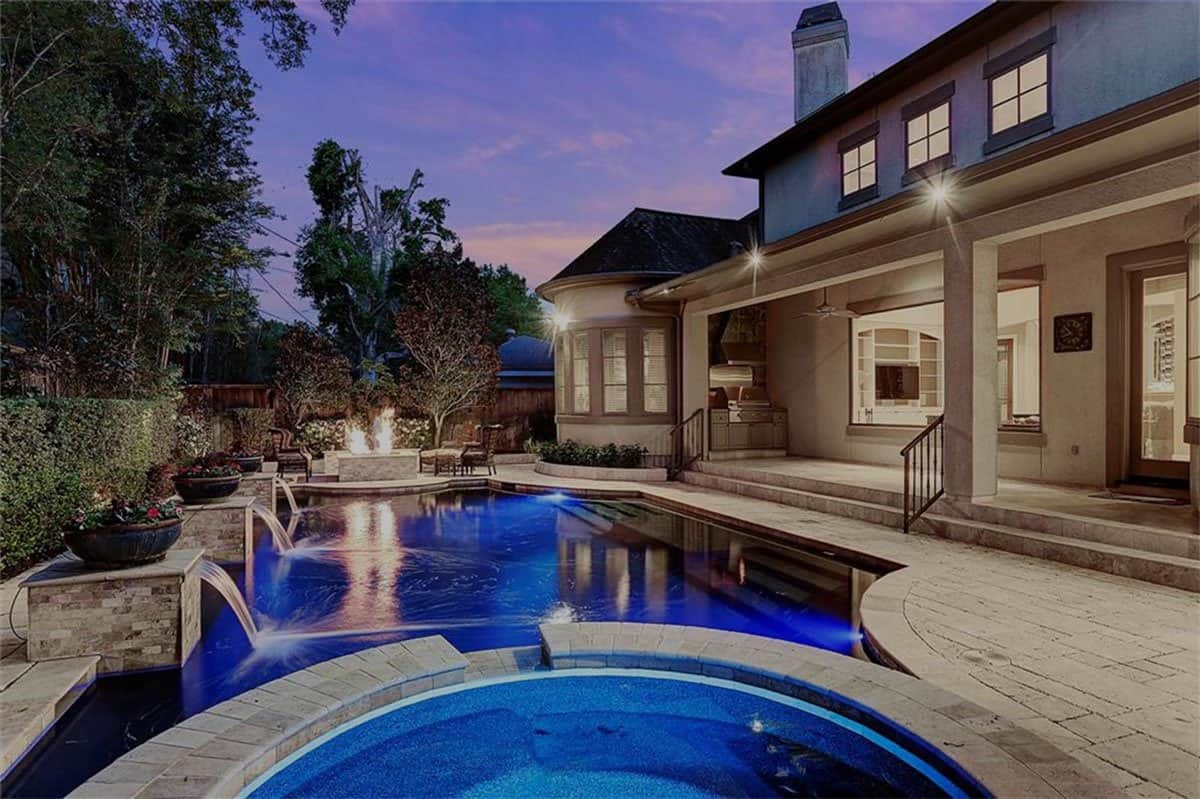 house and pool with LED lights